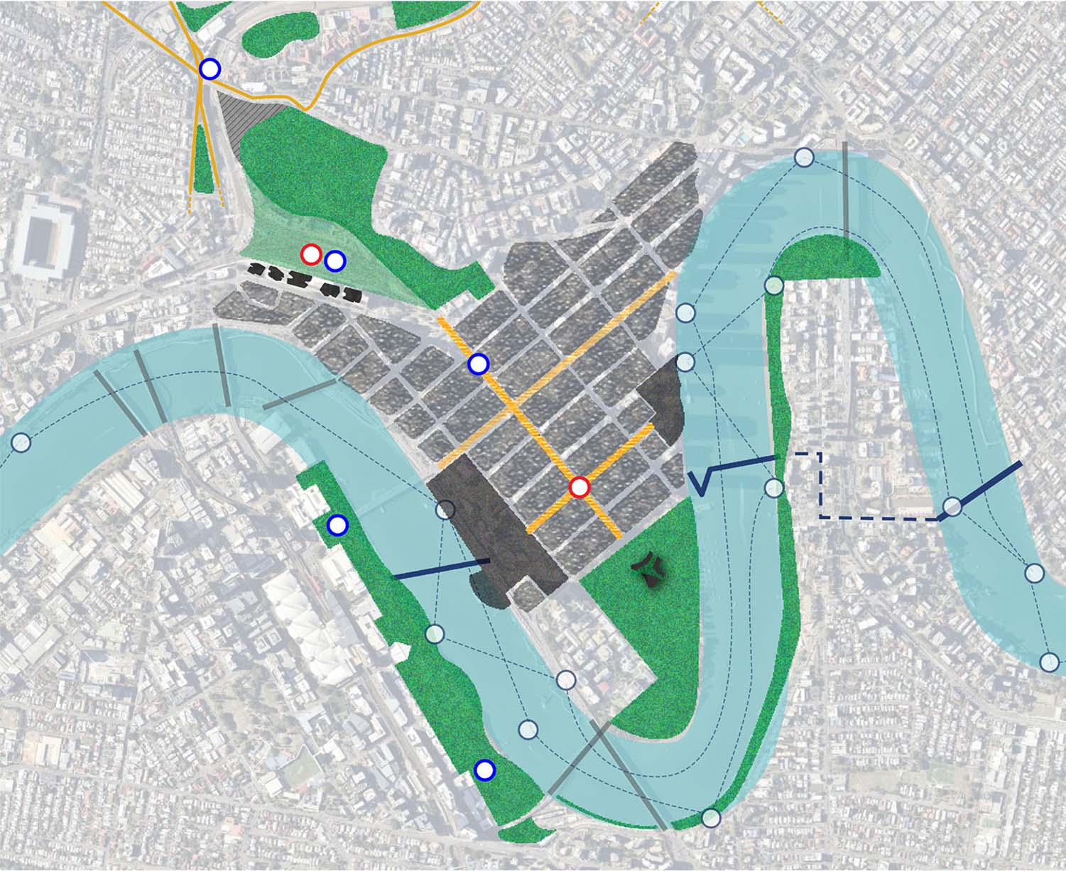 Main components of CBD and Roma Street Parklands - Brisbane's Defining Green Corridor